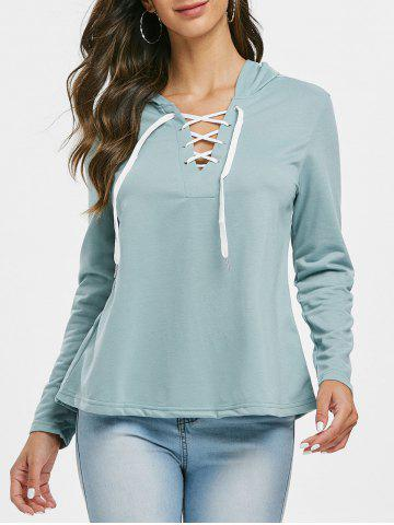 Lace Up Solid Color Hoodie - CYAN OPAQUE - S