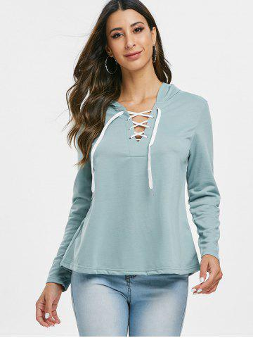 Lace Up Solid Color Hoodie