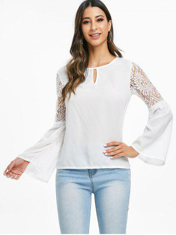 Lace Panel Keyhole Long Sleeve Blouse