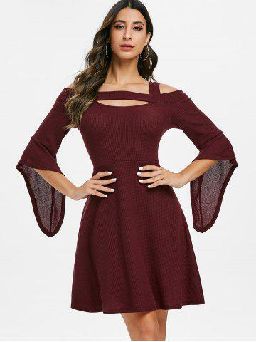 Square Collar Solid Open Shoulder Fit And Flare Dress