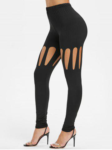 Cut Out Solid Pencil Pants
