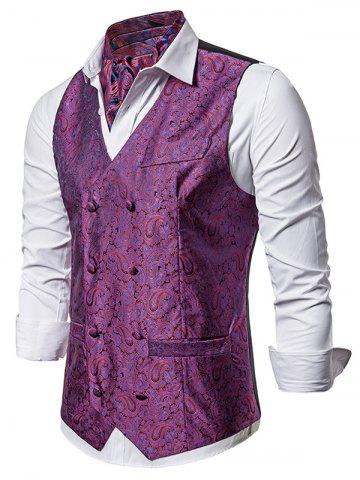 Double Breasted Paisley Jacquard Pockets Vest