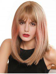 See-through Bang Straight Medium Ombre Synthetic Wig -
