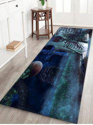Halloween Skeleton Crucifix Printed Floor Rug -