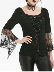 Applique Bell Sleeve Flower Lace T-shirt -