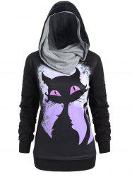 Plus Size Convertible Cat 3D Print Halloween Hoodie -