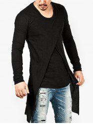 Punk Style Solid Color Long-sleeved T-shirt -