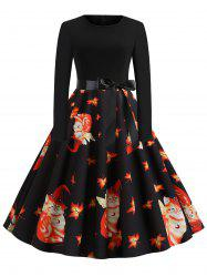 Maple Leaves Cat Belted Long Sleeves Halloween Dress -