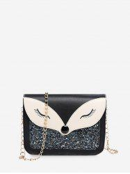 Sequined Panel Animal Design Chain Crossbody Bag -