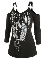 Plus Size Cold Shoulder O Rings Feather Print T-shirt -