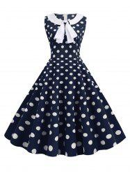 Bowknot Polka Dot Vintage A Line Dress -