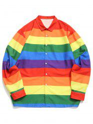 Plus Size Rainbow Stripe Print Button Up Long Sleeve Shirt -
