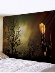 Halloween Night Castle Printed Tapestry Wall Hanging Art Decoration -