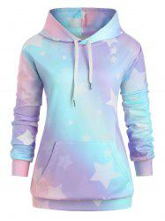 Plus Size Stars Print Ombre Color Pullover Hoodie -