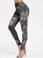 High Waisted Floral Print Skinny Leggings -