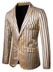 Vertical Striped Single Breasted Notch Lapel Blazer -