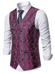 Double Breasted Paisley Print Business Vest -
