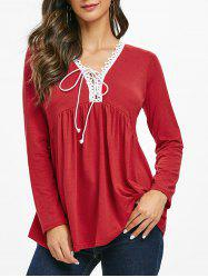 Lace Trim Lace-up Long Sleeve Top -