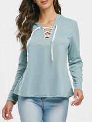Lace Up Solid Color Hoodie -
