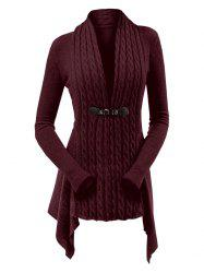 Ribbed Cable Knit Buckle Front Skirted Plus Size Cardigan -