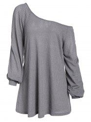 Plus Size Skew Neck Cut Out Solid Sweater -