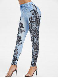 High Waist 3D Lace Print Jeggings -