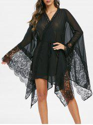 Handkerchief Lace Insert Sheer Wrap Dress -