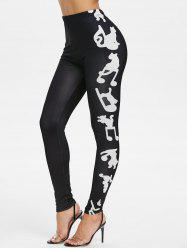 Musical Notes Print Skinny Leggings -