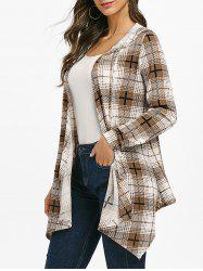 Open Front Checked Hooded Cardigan -