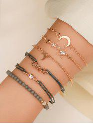 6Pcs Star Moon Letter Beaded Bracelet Set -