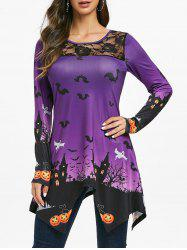 Halloween Lace Panel Pumpkin Print Longline T-shirt -