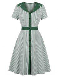 Stripe A Line V Neck Dress -