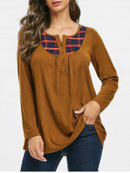 Plaid Half Button Notched Longline Tee -
