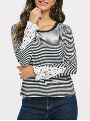 Lace Panel Striped Top -
