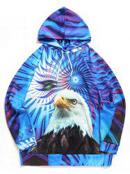 Plus Size Eagle Print Kangaroo Pocket Drawstring Hoodie -