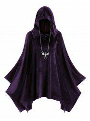 Plus Size Hooded Velvet Poncho -