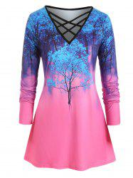 Plus Size Criss Cross Ombre Tree Print T Shirt -