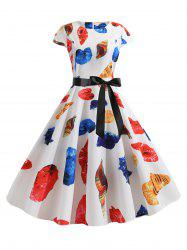 Shellfish Print Round Neck Belted Flare Dress -