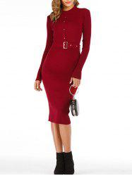 Snap-button Ribbed Midi Jumper Dress -