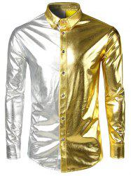 Two Tone Metallic Button Up Long Sleeve Shirt -