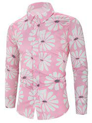 Flower Allover Print Long Sleeve Button Vacation Shirt -