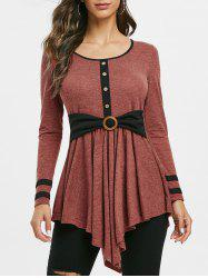 Button Embellished Striped Longline T-shirt -