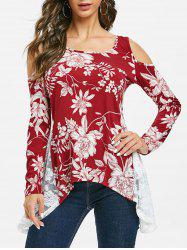 Open Shoulder Lace Insert Floral Hanky Hem T Shirt -