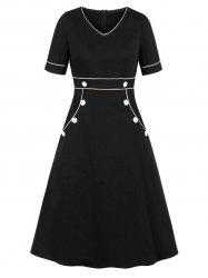 Piping Button V Neck Dress -