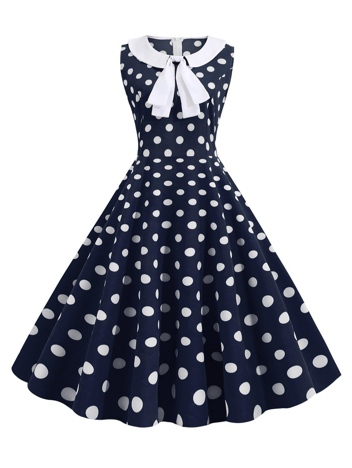 Latest Bowknot Polka Dot Vintage A Line Dress