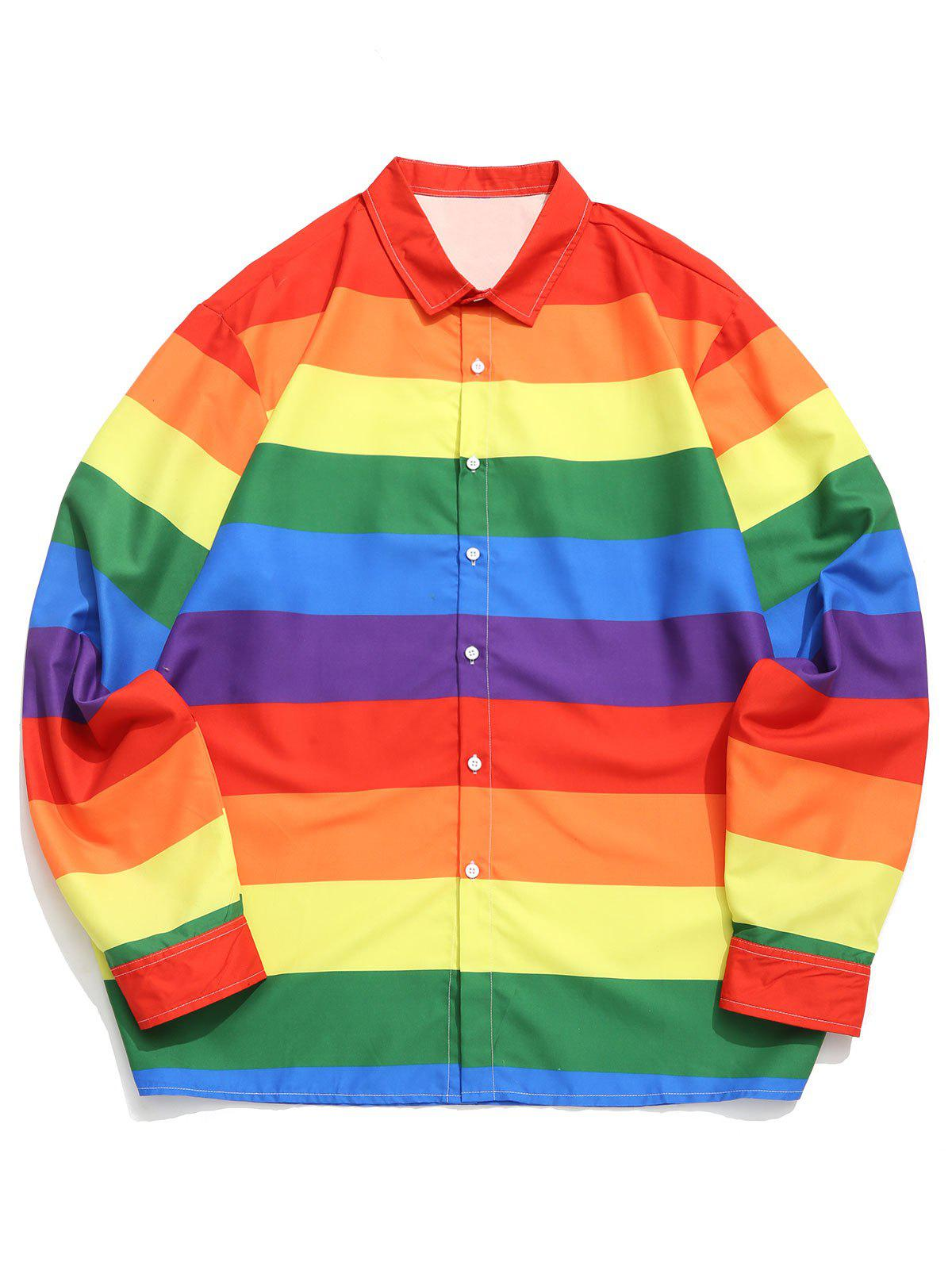 Fashion Plus Size Rainbow Stripe Print Button Up Long Sleeve Shirt