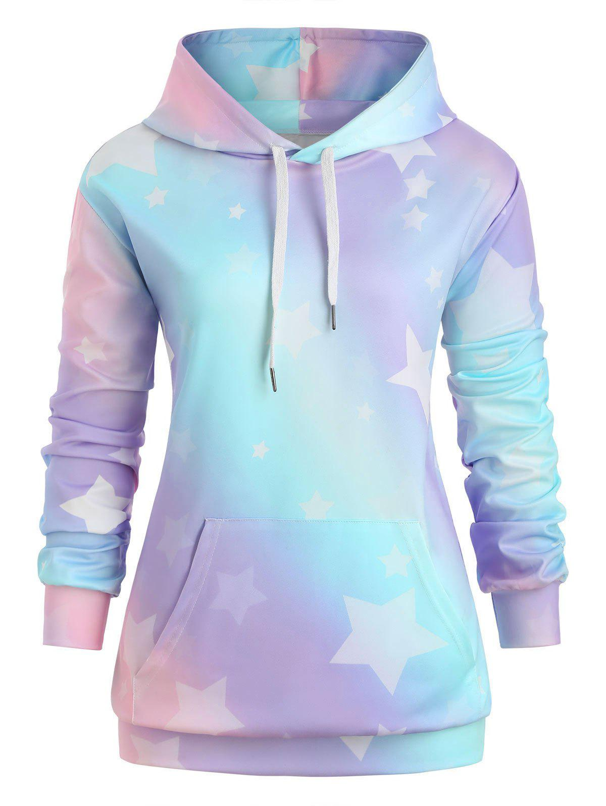 Latest Plus Size Stars Print Ombre Color Pullover Hoodie
