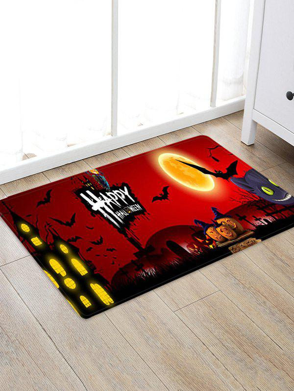Outfits Halloween Pumpkin Bat Castle Printed Floor Rug