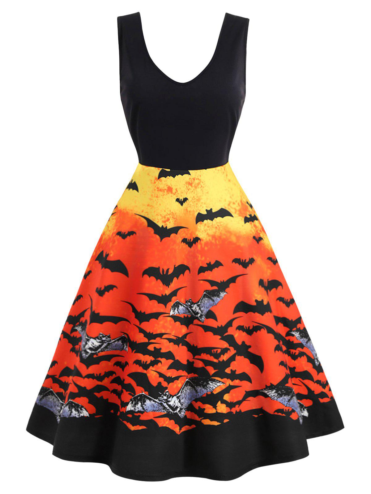 Plus Size Retro Bat Print Gothic Halloween Pin Up Dress
