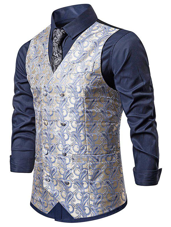 Best Double Breasted Paisley Print Business Vest